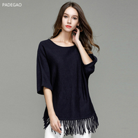 2017 Autumn New Solid Color Sweater Batwing Sleeve O Neck Collar Half Sleeve Sweater Women Black