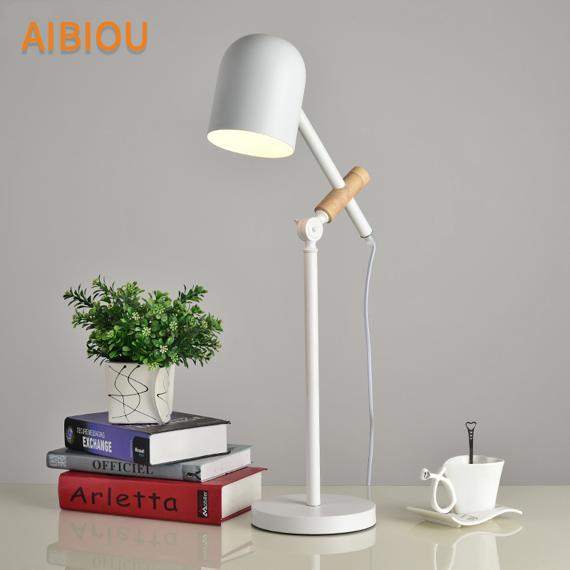 AIBIOU Modern E27 Table Lamps With Metal Lampshade For Bedroom Bedside Book Light LED Desk Lamp White Adjust Lighting Fixtures modern industrial style table lamps lights for bedroom bedside folding desk lamp clip dimmer led light clamp lampshade abajur