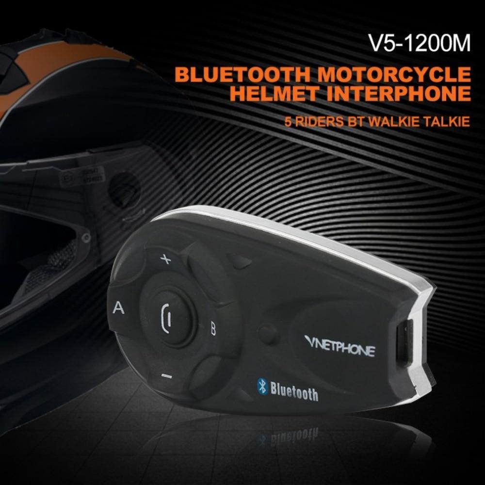 Vnetphone V5 1200M Bluetooth Motorcycle Helmet Interphone 5 Riders BT Walkie Talkie For Skiing Cycling Helmet