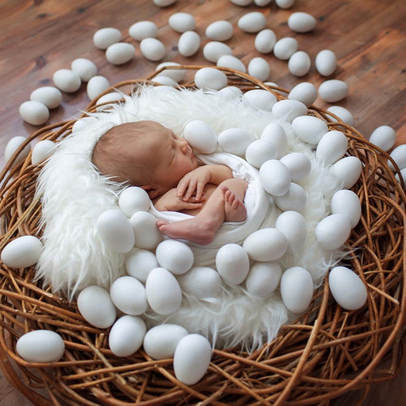 Newborn Baby Photography Wood Simulation Eggs Props Infant Baby Girl Boy Photo Shoot Studio Accessory Bebe Fotografia Props