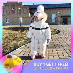 IYEAL Neueste Winter Kinder Baby Kleidung Mit Kapuze Natürliche Pelz Verdicken Warme Strampler Kid Jungen Overall Infant Mädchen Schneeanzug Outwear