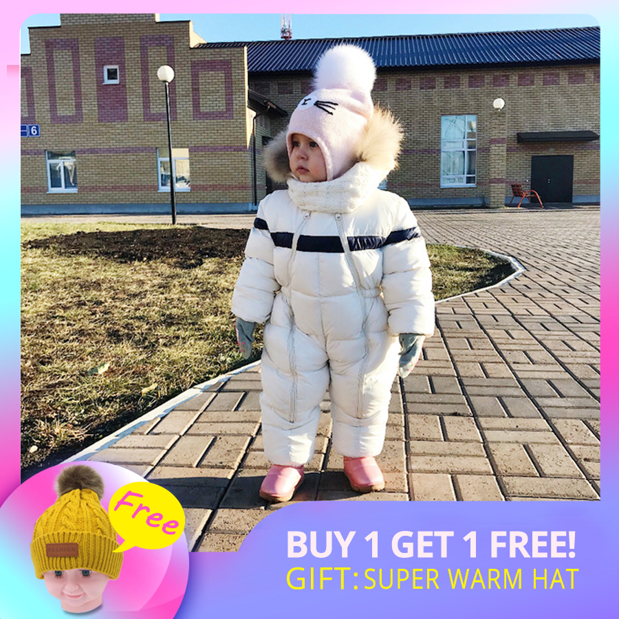 IYEAL Newest Winter Children Baby Clothes Hooded Natural Fur Thicken Warm Rompers Kid Boy Jumpsuit Infant Girl Snowsuit Outwear