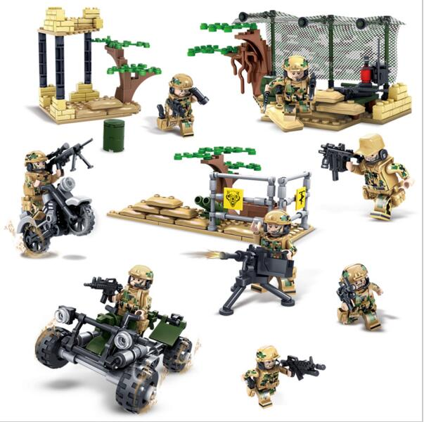 KAZI Building Blocks K82014 4set/lot military field Army Model Building Kits Model Toy Bricks Toys Hobbies Blocks kazi building blocks k87011 608pcs pirates black pearl model building kits model toy bricks toys hobbies blocks