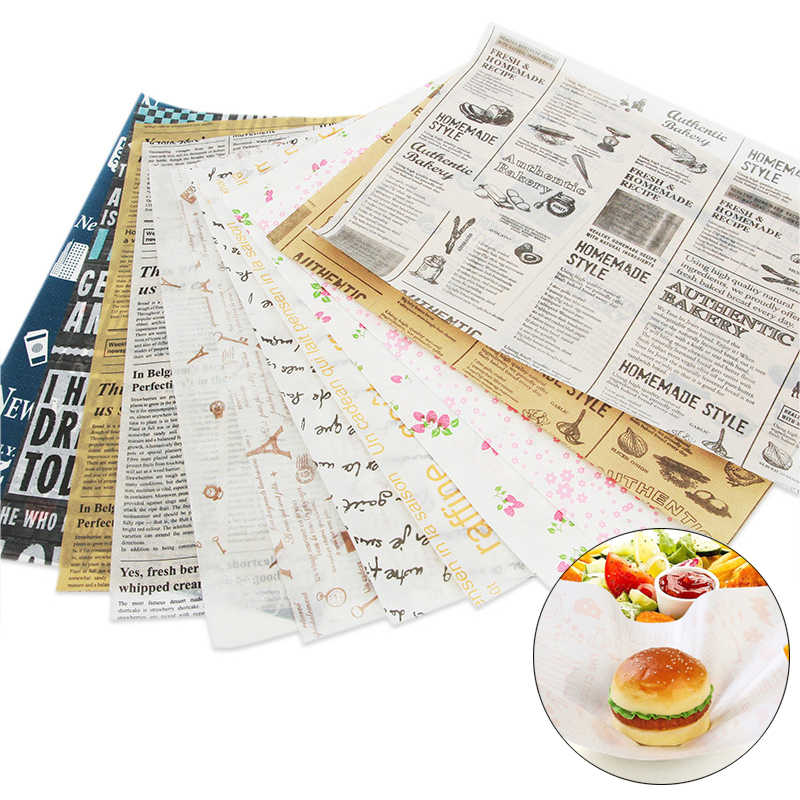 50/100pcs/pack Disposable Anti-oil Waxed Paper Fast Food Packing Tool Hamburger Sandwich Greaseproof Papers One-off Supplies