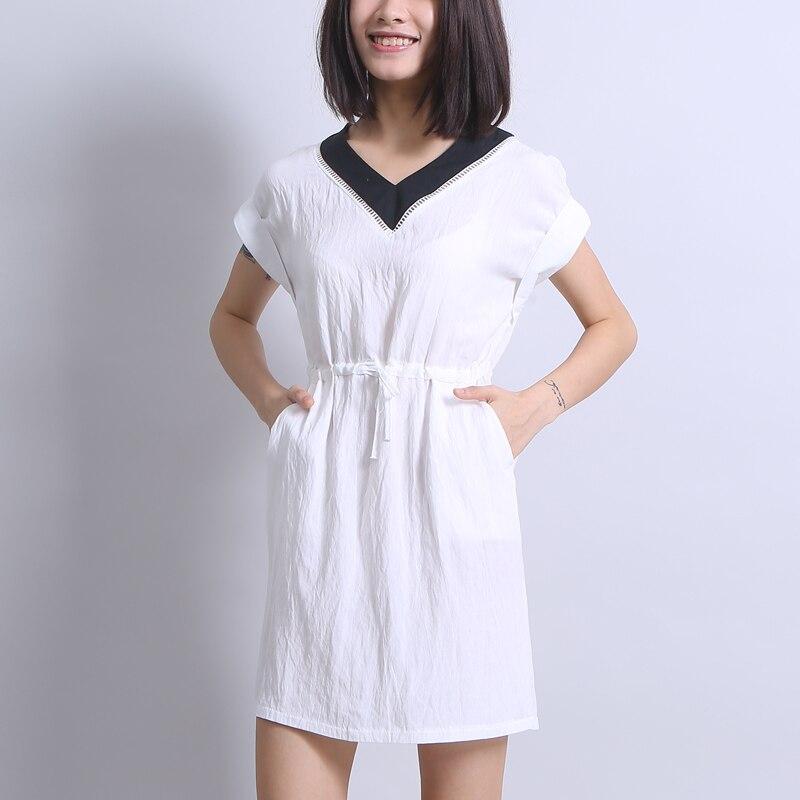 Women Dress Japanese Style V Neck White Dress Beach Short -6497