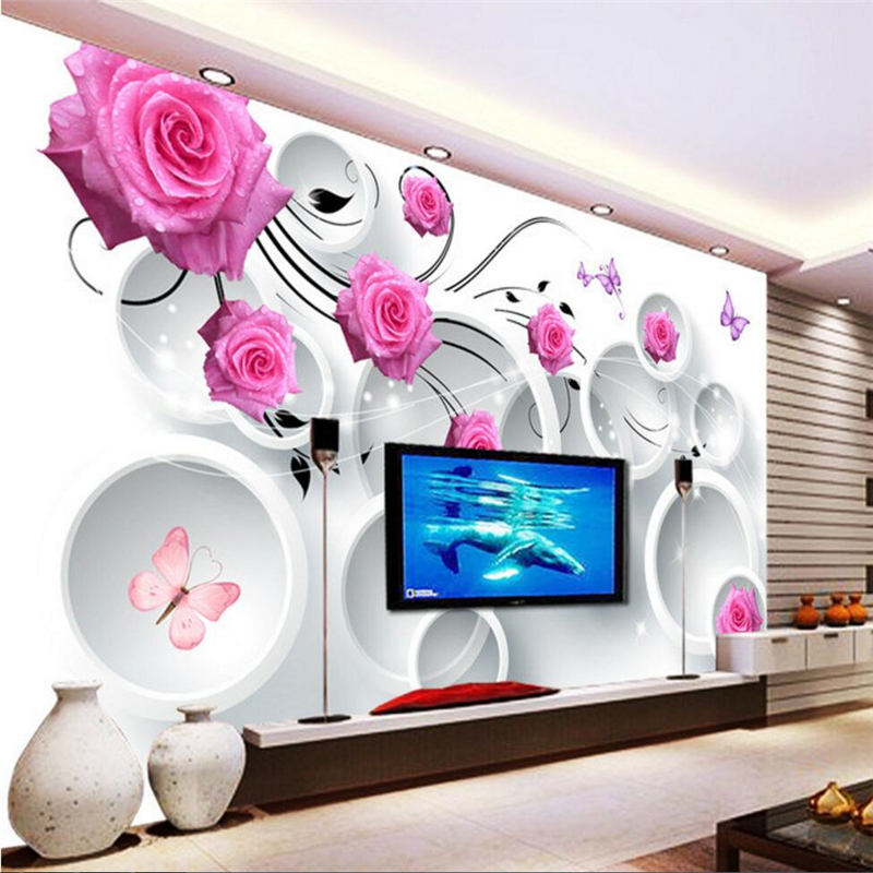 beibehang Custom photo wall  stickers rose 3D stereo circles TV wall papel de parede 3d para sala atacado 3d wallpaper