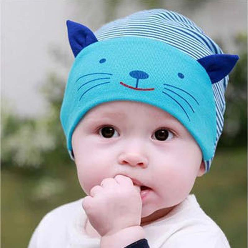 2017 Hot Sale Soft Cotton Baby Hat Lovely Cat Stripe Beanie Winter Newborn Kids Cap Boys Girls Hat Accessories lovely toddler first walkers baby boys and girls cotton shoes soft bottom hook sneakers i love mom dad