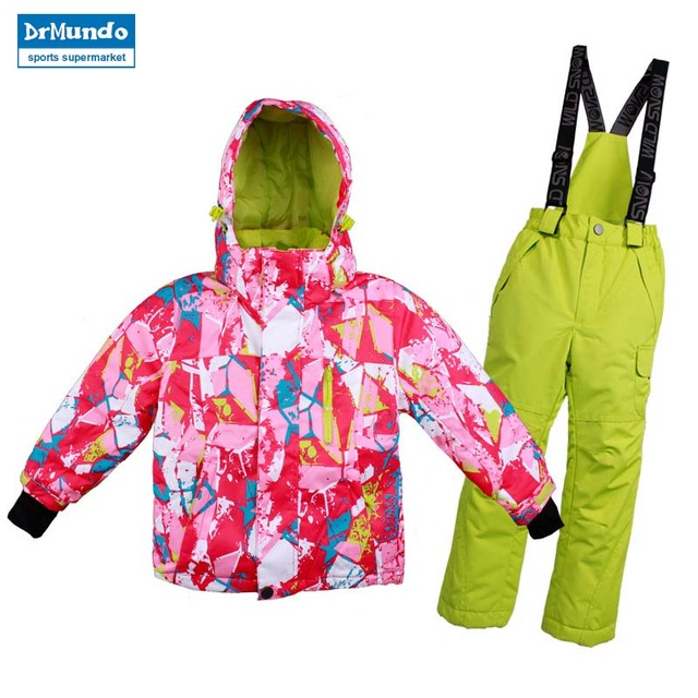 Boys Girls Ski Suit Waterproof Windproof Snow Pants Jacket A Set of Winter  Sports Child Thickened Thermal Clothes 859b92ecf