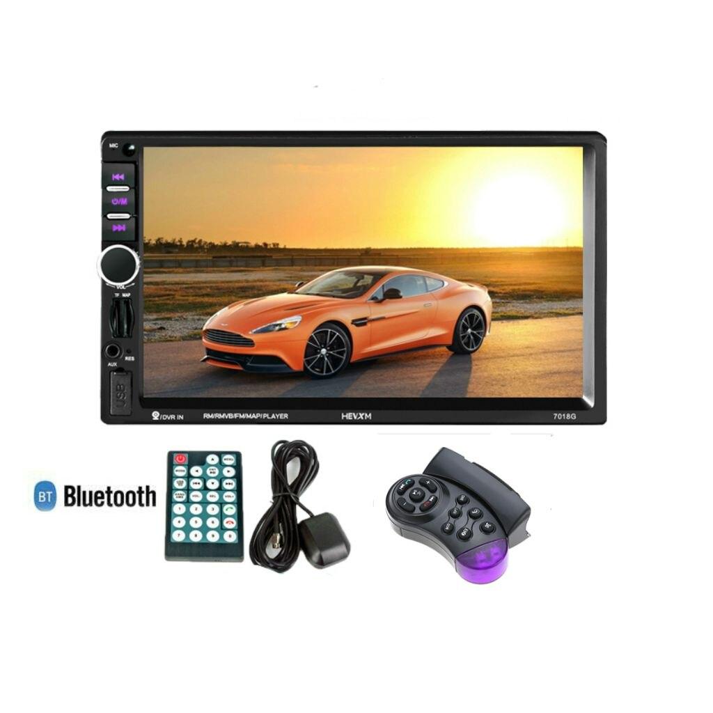 Lecteur multimédia voiture 2 Din + Navigation GPS avec commande au volant 7in HD ecran tactile Bluetooth Autoradio MP5 Video Stere