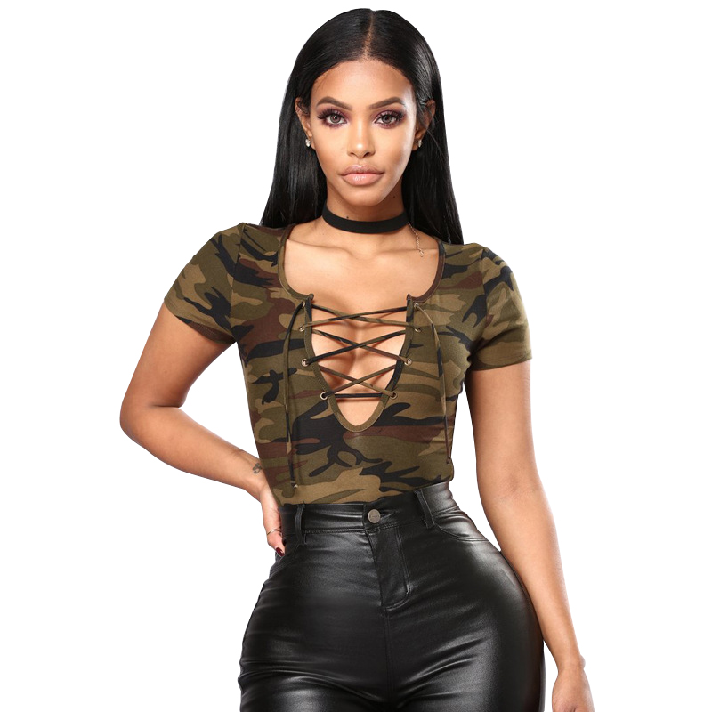 Women Green Camouflage V Neck Skinny Sexy Bodysuits Jumpsuit 2018 Summer Beach Lace Up Short Sleeve Slim Casual Bodysuit New