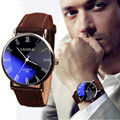 2016 Brand New Brown Luxury Men Watch Fashion Faux Leather Mens Roman Numerals Quartz Analog Watch Casual Male Business Watches
