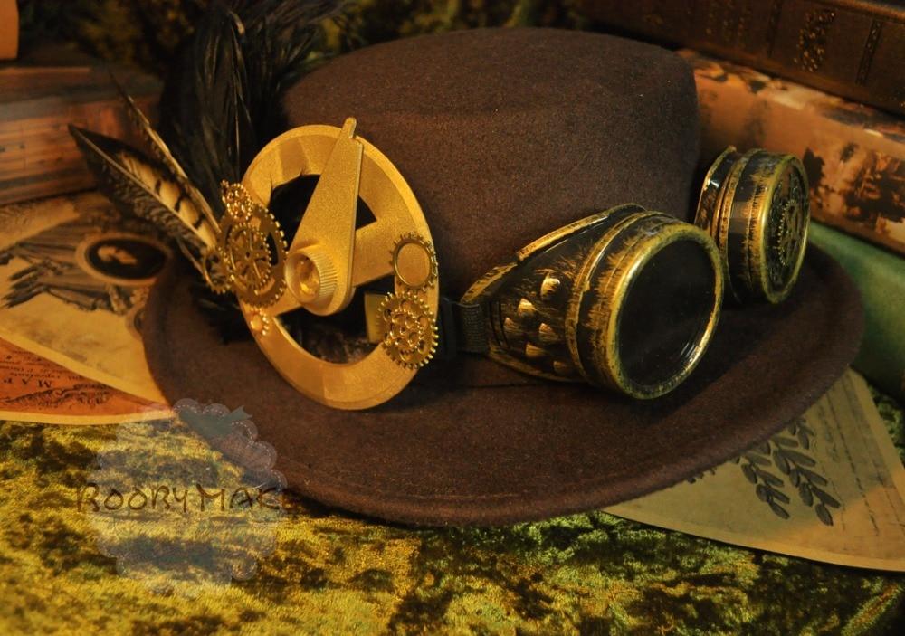 Equipo de lana marrón vintage y sombrero victoriano de Steampunk - Disfraces