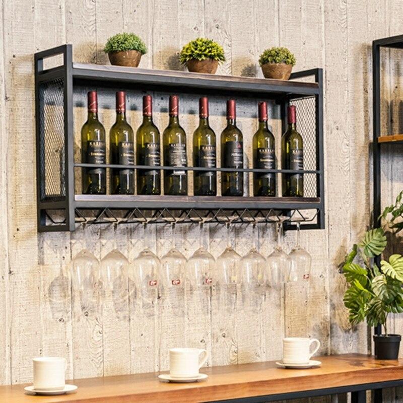 Forte di Attaccatura di Parete del Vino Vino Rack di Visualizzazione Scaffale di Ferro di Legno di Vino Titolare Calice Cremagliera
