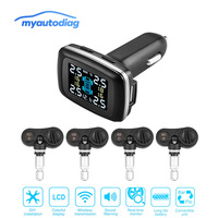 Real Time Digital Tire Pressure Monitoring System Wireless Internal TPMS Tire Pressure Alarm Car Charger