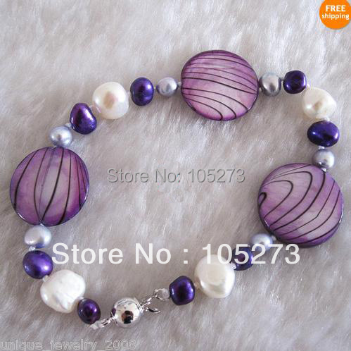 Lovely Pearl Jewelry 7.5inch AA 5-20MM Mixes Color Natural Freshwater Pearl Bracelet Shell Beads Lady's Style New Free Shipping