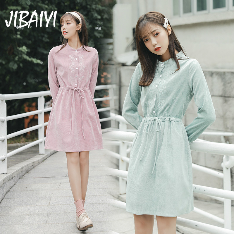 JIBAIYI Women Casual Button O Neck Mini Dress Women Solid Spring Long Sleeve a Line Dresses Elegant Embroidery Vesitdos Female