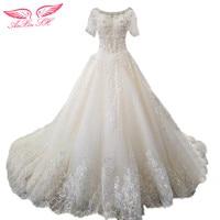 AnXin SH Princess White Lace Beading Wedding Dress Lace Champagne Flower Wedding Dress Lace Wedding Dress