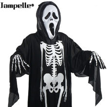 Halloween Costume Skull Skeleton Demon Ghost Cosplay Costumes Adults Children & Kids Carnival Masquerade Dress Robes Scary Mask(China)