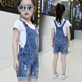 Teenage Girls Outfits Summer Clothing Sets For Girls Tees & Overalls Cotton White T-Shirts For Girls Denim Pants Shorts Jeans