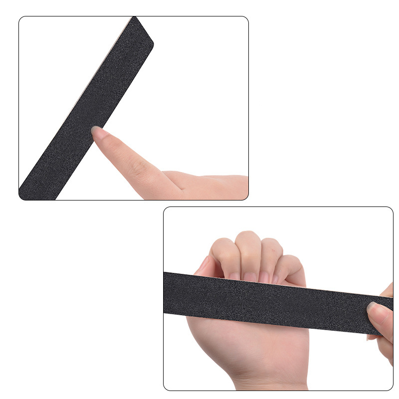 10pcs Black Replacement Sand Paper Nail File With Stainless Steel Handle Double-sided metal Nail Buffer 100/180 Manicure Sanding