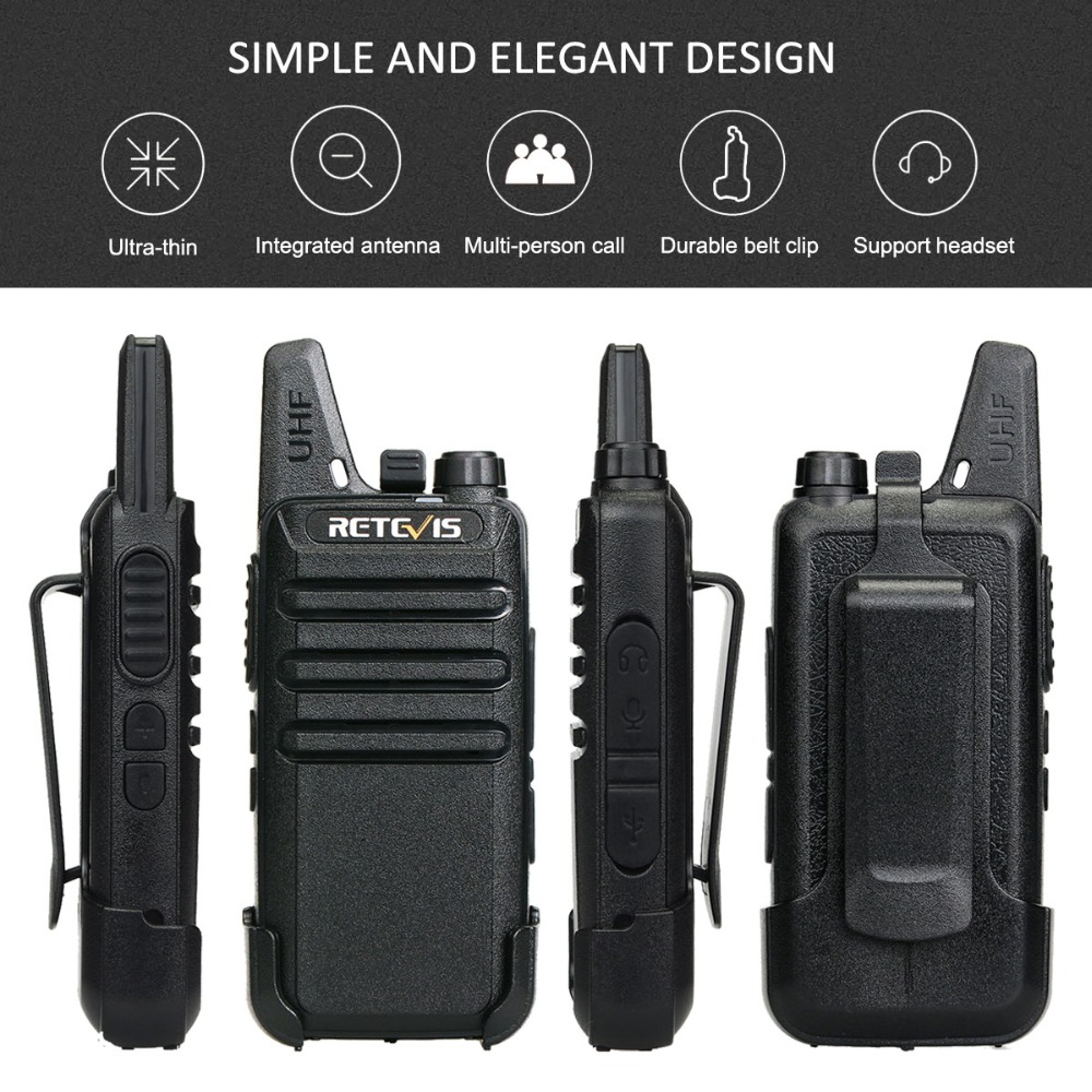 Image 3 - 6pcs Retevis RT622/RT22 Two Way Radio Mini Walkie Talkie + Six Way Charger PMR VOX Portable Walkie Talkie For Hotel/Restaurant-in Walkie Talkie from Cellphones & Telecommunications