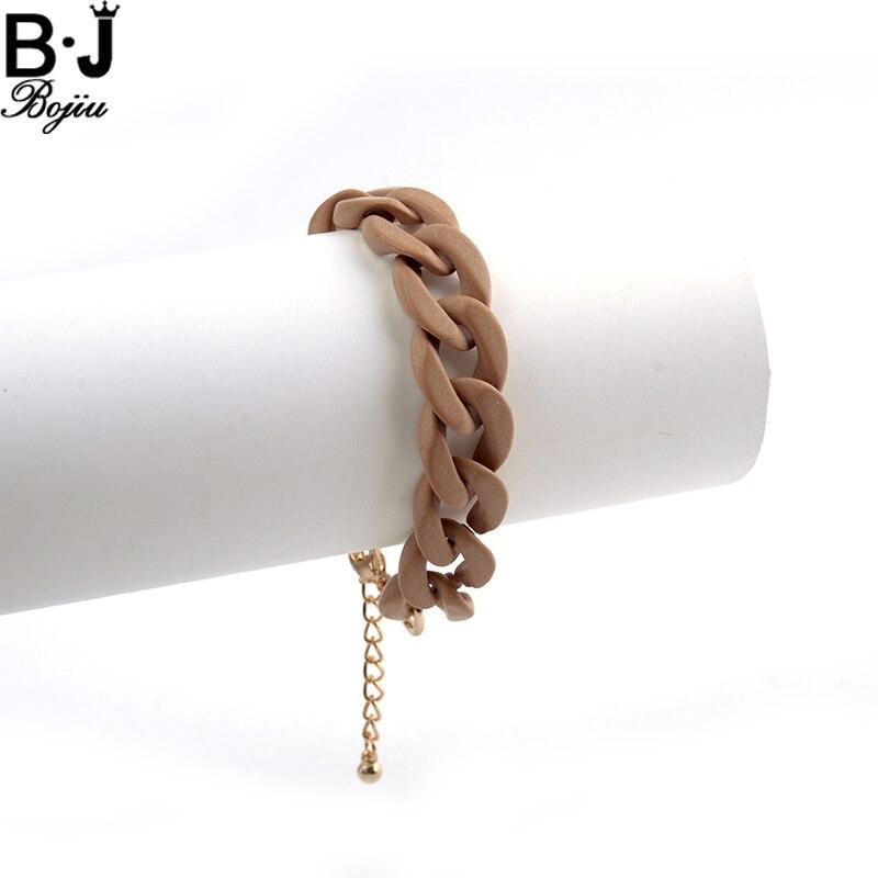 BOJIU Fashion women bracelet resin grey brown color extended link chain bracelets BC162
