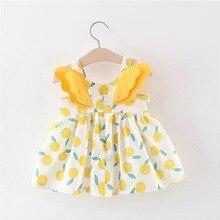 Одежда для маленьких девочек с крыльями бабочки; летнее платье принцессы; Хлопковое платье с принтом для маленьких девочек; vestidos; для детей 0-24 месяцев