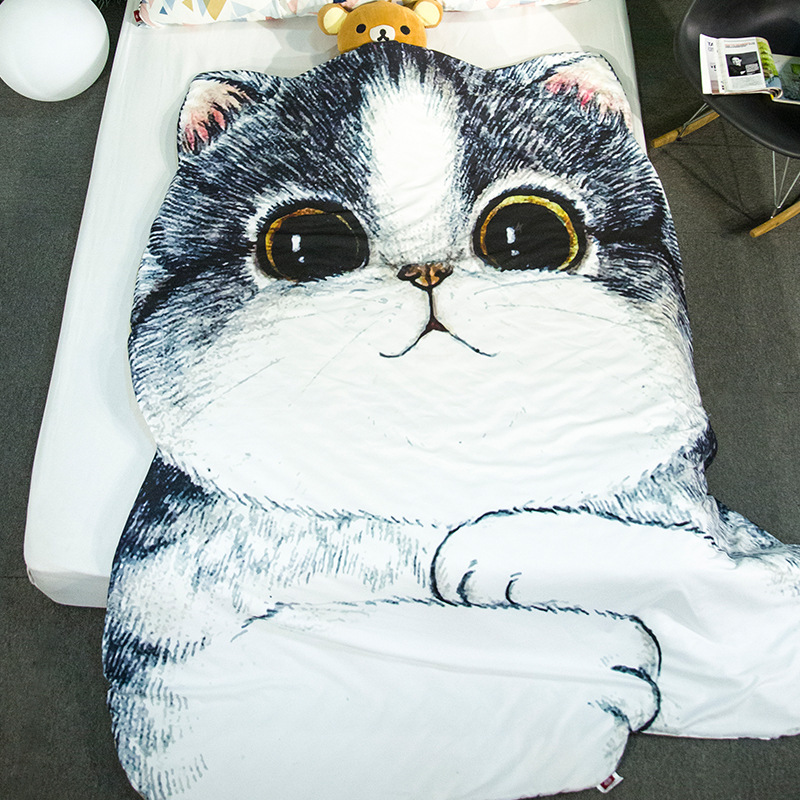 Hot Best Bedding set Animal Cat Bedding Kit Bulldog Student Single Summer Cool blanket Air Conditioning Quilt Breathable