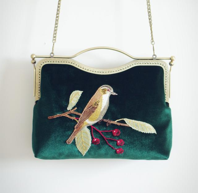 YESIKIMI Vintage Women Handbags Embroidery Bird Velvet Evening Party Clutch Bags With Chain Strap Hasp Closure Metal Frame Purse цена