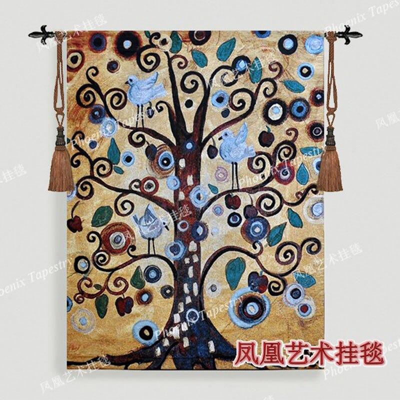Tenture murale décoration paysage arbre I tapisserie 138*105 cm antique maison textile aubusson jacauard tissu coton H142