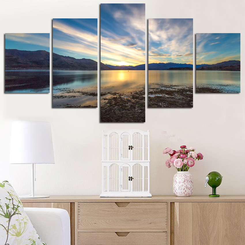 Modern Mountain And River Landscape Canvas Painting 5 Pieces Wall Art Spectacular Sunshine Picture For Living Room FA515