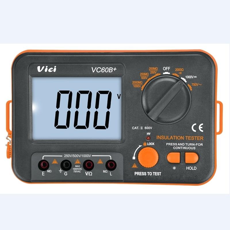 VC60B  Digital Insulation Resistance Tester VICI Megger MegOhm Meter 250V 500V 1000V High Voltage And Short Circuit Input Alarm