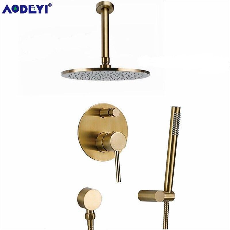 Latão escovado ouro conjunto de chuveiro do banheiro rianfall cabeça chuveiro torneira do chuveiro fixado na parede do chuveiro braço misturador água conjunto