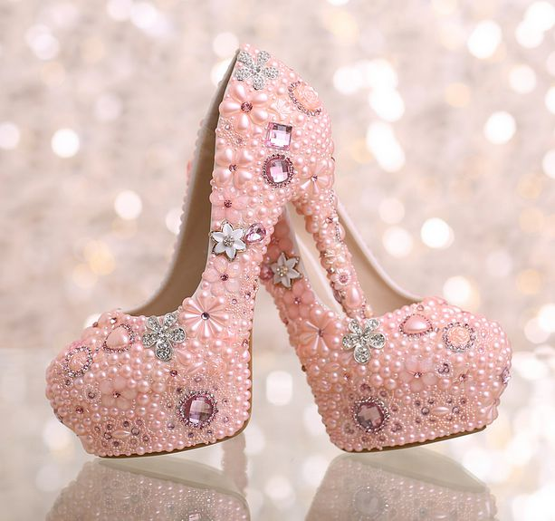 ФОТО Pink crystal rhinestones womens party pumps shoes for woman round toes extra thin high heels ladies girl pink party shoe TG765