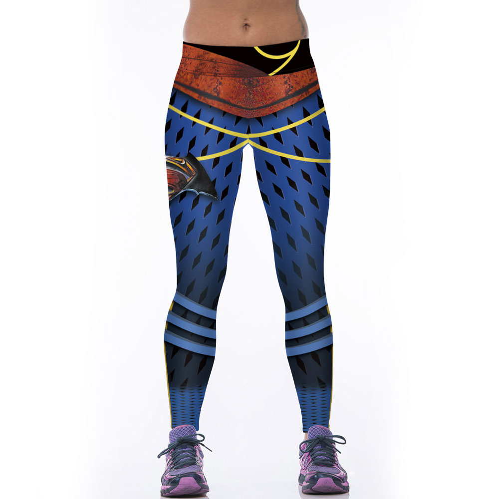 Nya Mode Kvinnor Sportande Leggings Fitness Träningsbyxor Gothic 3D Superman Trycka Leggings Stretch Fitness Legging