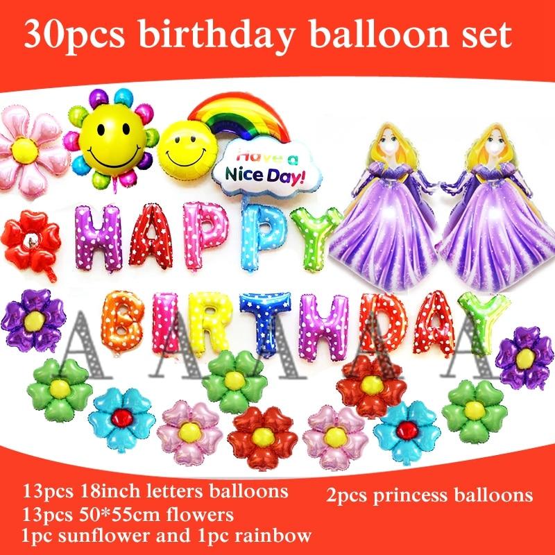30pcs foil balloon cartoon princess Rapunzel balloon happy birthday balloons set