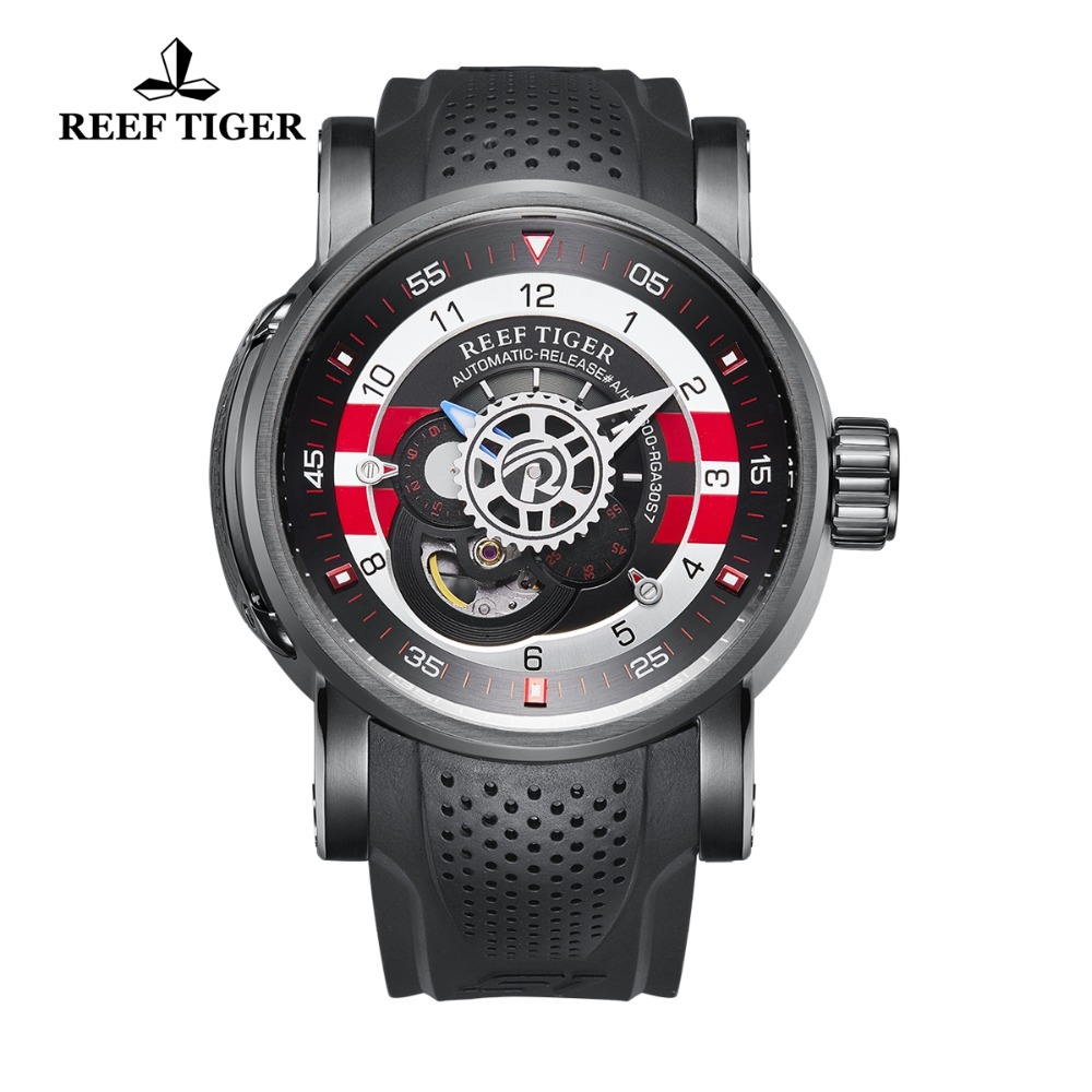 Reef Tiger/RT Brand Luxury Designer Watches Reloj Hombre Men Rubber Strap Waterproof Sports Automatic Watch Relogio Masculino reef tiger rt top brand luxury automatic watches men sports calendar waterproof genuine leather strap watch relogio masculino