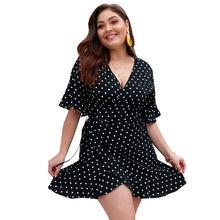 95f6ba256 2019 verano gran tamaño vestido de las mujeres Sexy puntos vestidos Plus  tamaño mujer gorda con cuello en V vestido de fiesta Pl..