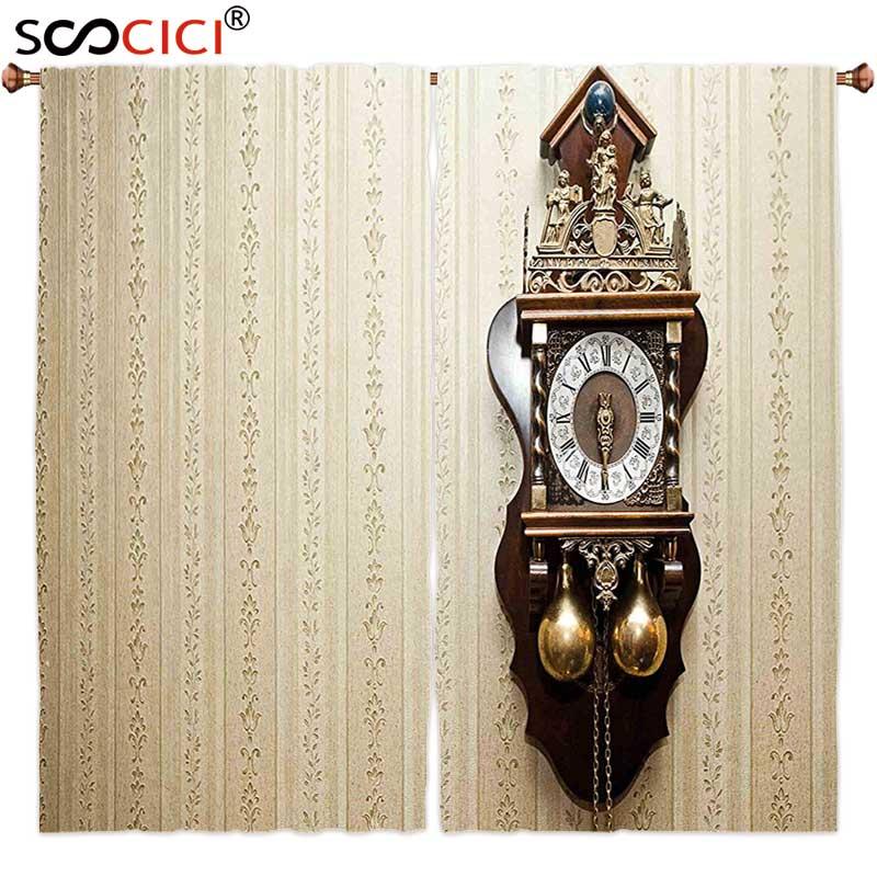 Гардины лечения 2 панелей, часы декор старинный резьба по дереву часы с римскими цифрами висит на стене рисунок
