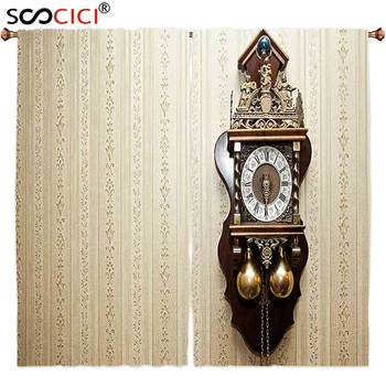 Window Curtains Treatments 2 Panels,Clock Decor An Antique Wood Carving Clock with Roman Numerals Hanging on the Wall Design