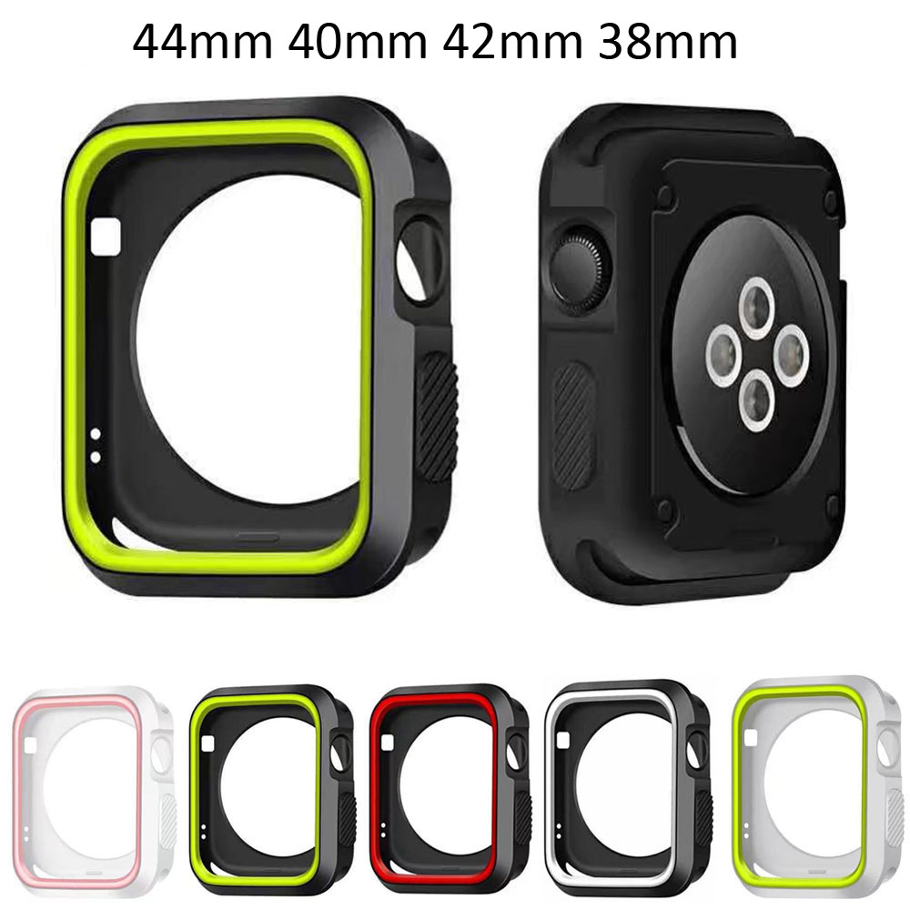 Fall Resistance Silicone Cover For Apple Watch 4 Case iWatch Series 1 2 3 4 Cover 44/40/42/38mm Watch Case Shell Band Strap цена 2017