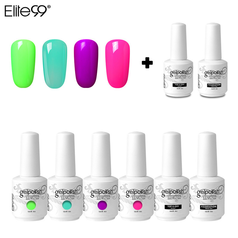 (6PCS) Elite99 15ml Gel Nail Polish UV Nail Gel Manicure Led Color Gel Polish Soak Off Nail Gel Varnish Top Coat Base Coat Sets