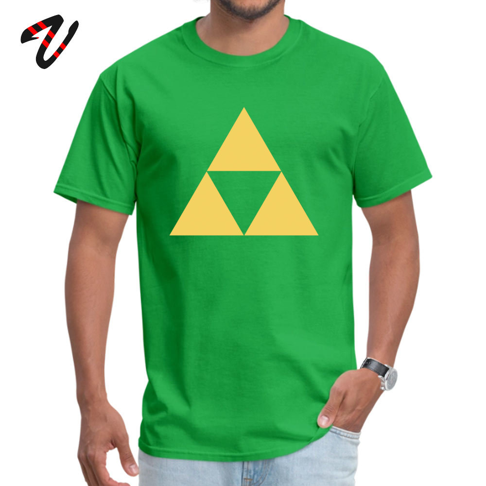 Gold Zelda triforce Pure Cotton Tshirts for Men Short Sleeve Tops & Tees Wholesale Summer Fall Round Collar Tops Shirts Leisure Gold Zelda triforce 3 947 green