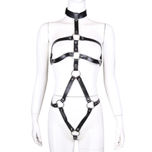 SM Bondage Adjustable Body Harness PU Leather Breast Clips Restraints Sex Toys For Women Nipple Clamps