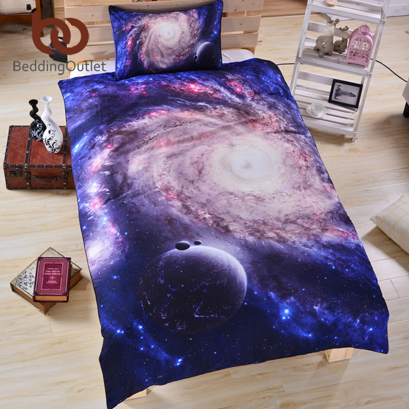 Beddengoed Outlet 3D Galaxy Beddengoedset Marineblauw Beddengoed - Thuis textiel