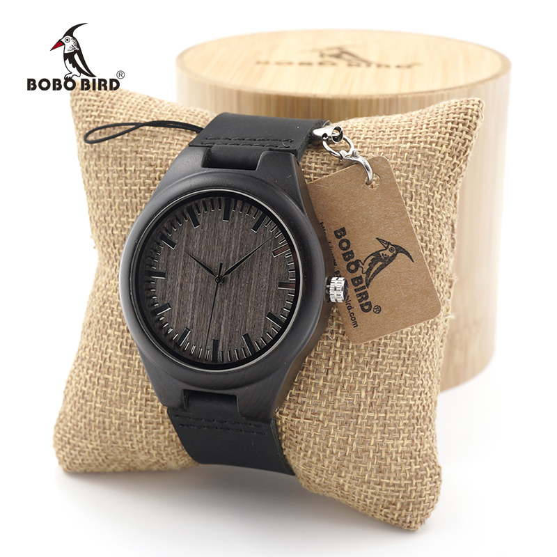 BOBO BIRD Mens Ebony Wood Watches Japanese 2035 Movement Quartz Wrist Watches with Real Leather Strap as Gift Free Shipping bobo bird full round vintage ebony wood case men watch with wood face with ebony wood strap japanese movement quartz in gift box