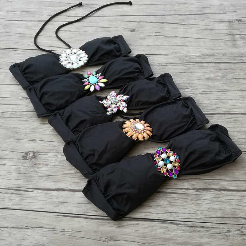Bikini pour femmes maillots de bain bustier tubulaire Mix hauts noir maillots de bain Sexy natation biquini UP Secret diamant