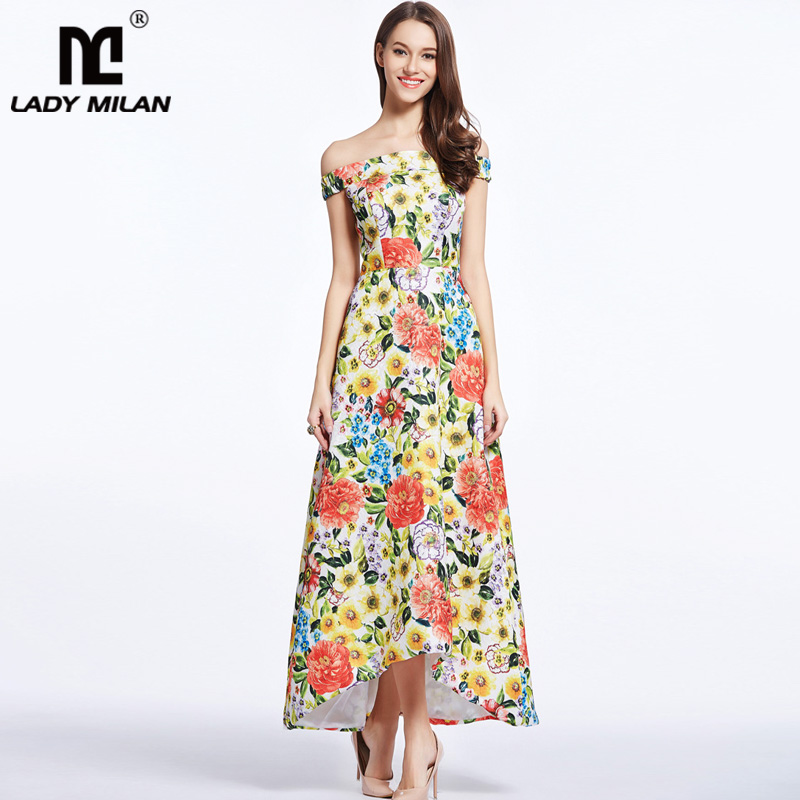 2018 Womens Sash Neckline Sexy Off the Shoulder Floral Printed Dobby Hi Low Fashion Summer Long Dresses Designer Casual Dresses