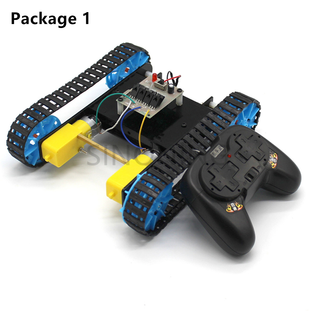 DIY Assembled Tank Model with Remote Control Handicraft Experiment Material Educational Science Toys