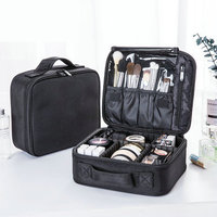 Korean Fashion Portable Travel Cosmetic Bag Oxford Fabric Black Storage Bag For Make Up Cosmetic Organizer